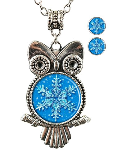Sechao Snowflakes Custom Hot Sale Glamour Woman Owl Necklace Pendant Stud Earrings -