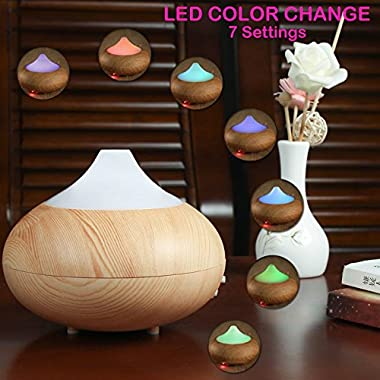 HDE Essential Oil Diffuser Wood Grain Color Change LED Cool Mist Aromatherapy Humidifier