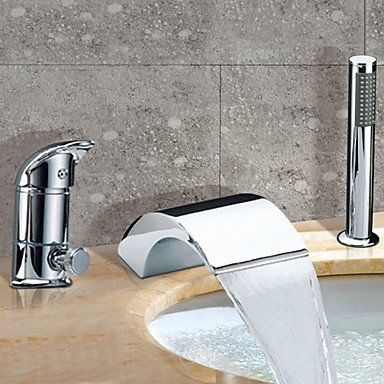 33402 Wall - Contemporary Roman Tub Waterfall / Widespread withCeramic Valve Two Handles Three Holes forChrome , Bathtub Faucet