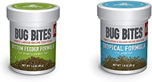 Fluval A6586 Bug Bites Bottom Feeder Granules 1.59 oz, Small to Medium Fish A6577 Bug Bites Tropical Fish Small Granules 1.59 oz, Small to Medium Fish