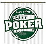 iPrint Shower Curtain,Poker Tournament Decorations,Lets Play Poker Stamp Royal Flush Grunge Vintage Full House,Green White,Polyester Shower Curtains Bathroom Decor Sets with Hooks