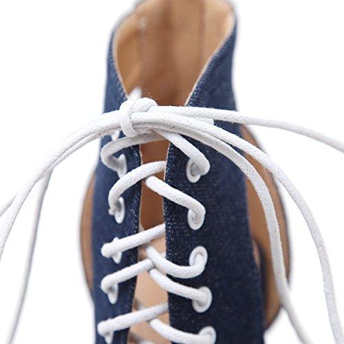 pescado zapatos la tacones black primavera ZHZNVX expuestos cordones boca comienzos transversales denim de de A nuevo de elegantes mujer sandalias pxptP4aq