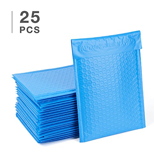 Fu Global  0 Poly Bubble Mailers 6X10 Inch Bubble Envelopes Blue Bubble Lined Poly Mailer 25Pcs