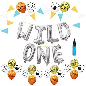 16 inch wild one kids first birthday balloons 32g jungle animal print latex balloons baby girl boy 1st bday party supplies with air pump