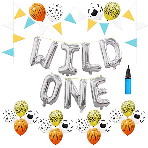 Jungle Animal Print (16 INCH WILD ONE Kids First Birthday Balloons, 3.2g Jungle Animal Print Latex Balloons Baby Girl Boy 1st Bday Party Supplies with Air Pump)