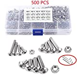 Screw and Nut Kit 500PCS M3 M4 M5 Stainless Steel Flat Head Button Head Hex Socket Head Cap Screws Assortment Kit Bolts Nuts Kit and Wrench
