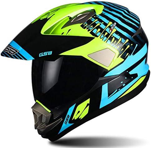 ZJJ ヘルメット- モトクロスフルカバーヘルメット、ユニセックスヘルメット、オプションレンズ (色 : Green B, サイズ さいず : L l)