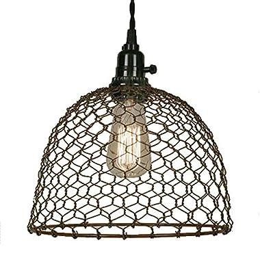 Chicken Wire Dome Pendant Light in Primitive Rust