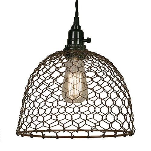 Chicken Wire Dome Pendant Light in Primitive Rust Finish -