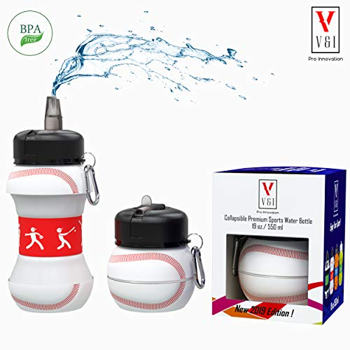Sports Kids Water Bottle Baseball Ball-Shaped Design 19 oz Leak Proof Shockproof Reusable Squeezable Compact Collapsible Travel Bottle
