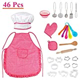 Chef Role Play Costume Set, 46 Pcs Toddler Cooking Baking Set with Chef Hat, Apron, Oven Mitt,...