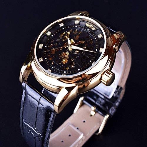 BEWITCHYU Practical Wristwatches Automatic Hollow Mechanical Watch Belt Watch Casual Business Men 's 3D Logo Skeleton Calibration Small Circle Decorative Watch Bracelet