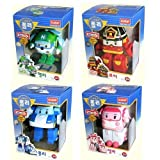ROBOCAR POLI Poli + Helly + Amber + Roy (Transformable Robot Toys) +Free gift (A set of poli spoon and fork)