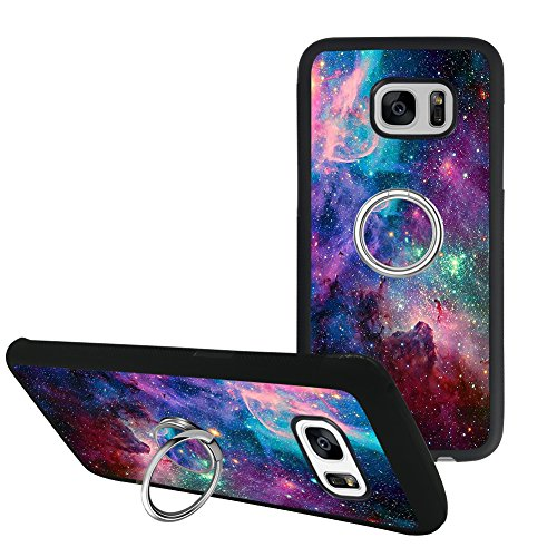 Universal Custom Space Sky Samsung Galaxy S7 Edge Case Phone Ring Holder Kickstand Rotational Heavy Duty Armor Protective Soft TPU Bumper Shell Cover for Samsung Galaxy S7 Edge