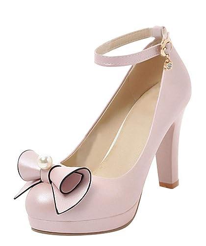 Rockabilly Und Elegant High Geschlossen Schuhe Ye Plateau Mit Schleife Strap Blockabsatz Heels Ankle Damen Riemchen Pumps 6gYf7vIyb