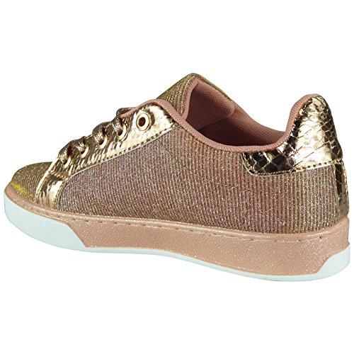 8 Da Con Champagne Comode Scarpe Glitter Size Lacci Forte Look 3 Donna Ginnastica ZqaxfPS