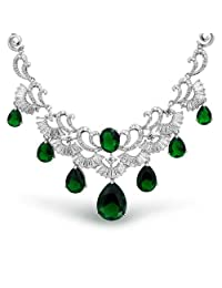 Bling Jewelry Rhodium Plated Teardrop Art Deco Simulated Emerald Bridal Collar Necklace 16 Inches