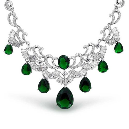 Bling Jewelry Vintage Style Green AAA CZ Teardrop Baguette Simulated Emerald Statement Necklace for Women Pageant Silver Plated Brass