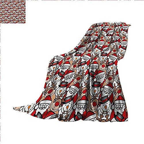 Christmas Lightweight Blanket Snowman Reindeer Santa Claus Cartoon Image for Kids Festive Theme Digital Printing Blanket 90
