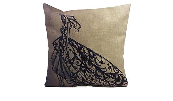 Molde cuadrado para Bromeo Cotton Linen manta diseño de chica con vestido de funda de almohada 45,72 cm X 45,72 cm: Amazon.es: Hogar