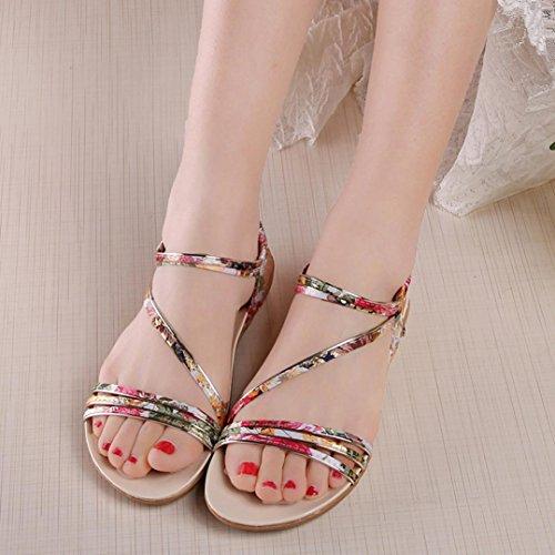 Perman Mujeres Sumer Sandalias Planas Moda Bohemia Leisure Lady Sandalias Al Aire Libre Zapatos Amarillo