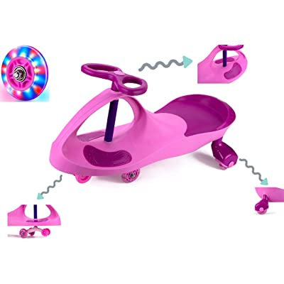 Wiggle Car Ride On Toy with LED Light Up Wheel No Batteries, Gears, or Pedals for 3-Year-Old and Up Boys Girls, Wiggle for Endless Fun: Toys & Games