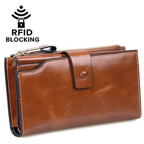 Jack&Chris Women's RFID Blocking Luxury Wax Genuine Leather Clutch Wallet Card Holder Organizer Ladies Purse, WB301 (Brown) by Jack&Chris