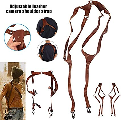 RollingBronze Camera Strap Adjustable Portable Leather Camera Shoulder Neck Strap Vintage Belt Band Accessories