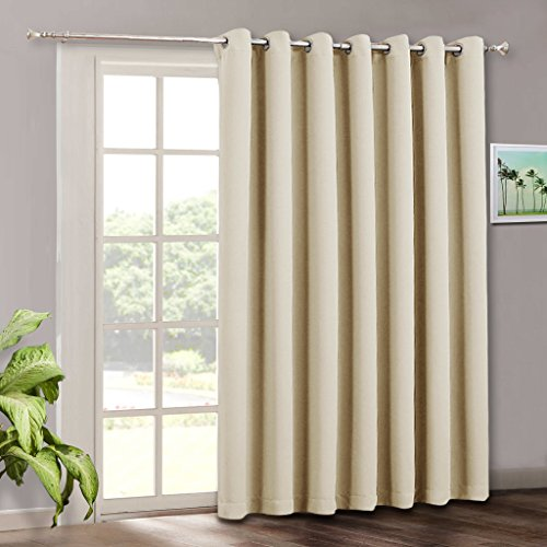 Door Panel Drapes (RYB HOME Sliding Glass Door Curtain Drapes Light Blocking Extra Long Wide Solid Panel, Outdoor Indoor Privacy Curtains Window Dressing for Living Room/Patio Door,(W 100 x H 84 inch, Cream Beige))