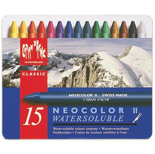 CREATIVE ART MATERIALS Caran D'Ache NeoColor II Water Soluble Wax Pastel Set 15/Pk- by Creative Art Materials