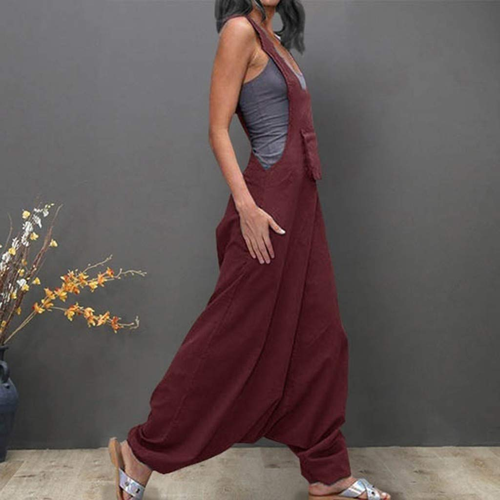 Spbamboo Womens Jumpsuit Casual Summer Rompers Dress Side Pocket Loose Jumpsuit