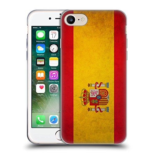 Spanish Case (Head Case Designs Spain Spanish Vintage Flags Soft Gel Case for Apple iPhone 7 / iPhone 8)