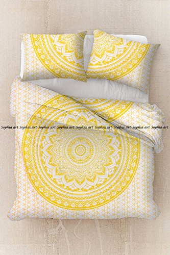 (Sophia Art Indian Exclusive Ombre Full Size Mandala Duvet Cover Tapestry Cover Bohemian Bedding Blanket Cover Boho Throw (Yellow))