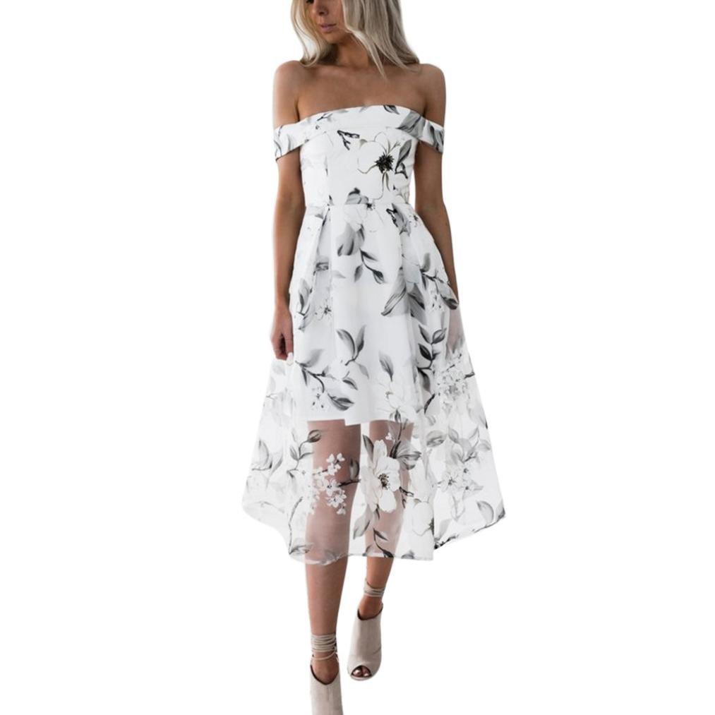 Kingfansion Women Summer Floral Ruffles Dress Off Shoulder Mini Dress Beach Party Dress (S, C)