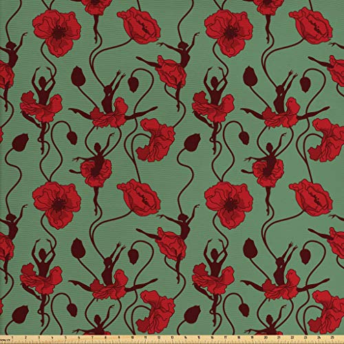 Ambesonne Poppy Fabric The Yard, Floral Arrangement Abstract Ballerina Dance Themed Botanical Print, Decorative Fabric Upholstery Home Accents, 2 Yards, Green Chesnut Brown Red