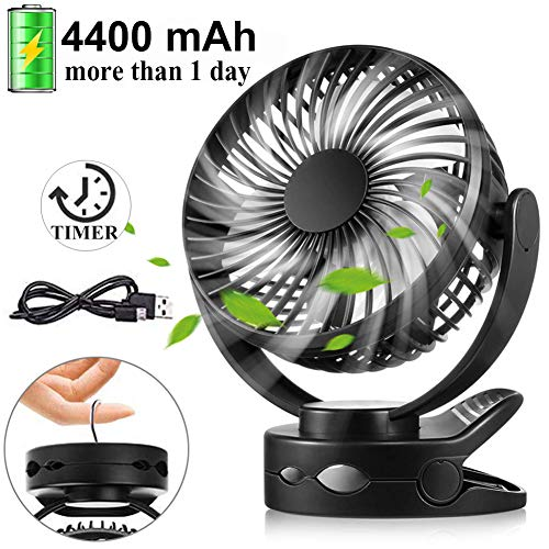 (Battery Operated Clip on Fan, Portable Baby Stroller Fan with Timer, 4 Speed Quiet Personal Cooling Mini Desk Fans, 4400mAh USB Rechargeable Small Hanging Fans for Camping Gym Car Travel Home Office)