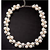 Fashion Womens Pendant Crystal Chain Chunky Statement Pearl Bib Necklace Jewelry EW