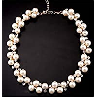 Fashion Womens Pendant Crystal Chain Chunky Statement Pearl Bib Necklace Jewelry