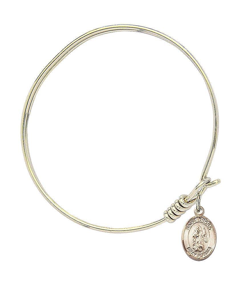 St Drogo Charm On A 6 1//4 Inch Round Eye Hook Bangle Bracelet