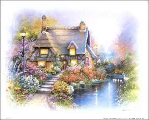 Cottage on Pond I Paper Tole 3D Kit 8x10 Paper Tole Supply Center