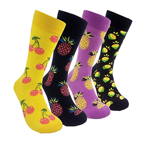 Colorful Mens Dress Socks Patterned – HSELL Men Multicolored Pineapple Fruit Print Fun Crew Socks 4 Pack (C5), One Size - Cheap Fancy Dress Ideas For Men