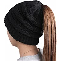 NeuFashion Beanie Tail Hats Ponytail Beanie Hats Soft Stretch Cable Knit Messy High Bun Knit Beanies Warm Winter Chunky Skull Cap For Sports Outdoor
