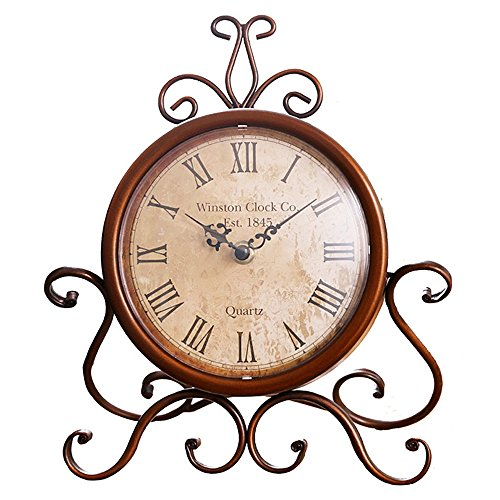 Desk Clock, Eruner Retro European Decorative Table Clocks Baroque Style Non-ticking Antique Furniture Decoration for Living Room Cabinet Office Study Desk, Antique Golden