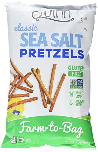 Quinn Snacks Non-GMO and Gluten Free Pretzels, Classic Sea Salt, 3 Count