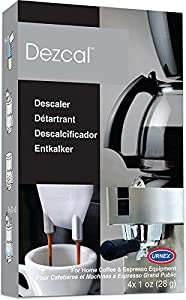 Urnex Dezcal Coffee and Espresso Descaler and Cleaner - 4 Uses - Activated Scale Remover Use with Home Coffee Brewers Espresso Machine Pod Machine Capsule Machine Kettles from Urnex