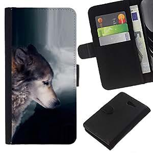 All Phone Most Case / Oferta Especial Cáscara Funda de cuero Monedero Cubierta de proteccion Caso / Wallet Case for Sony Xperia M2 // Wolf Waterfull Indian Wild Animal Forest