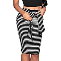 Clearance Hot Sale!Women Skirt Daoroka Sexy Striped Bow Tied High Waist Skinny Stretchy Slim Knee-Length Pencil Work Office Casual Skirt Valentine's Day Gift For Girlfriend Lovers (XL, Black)