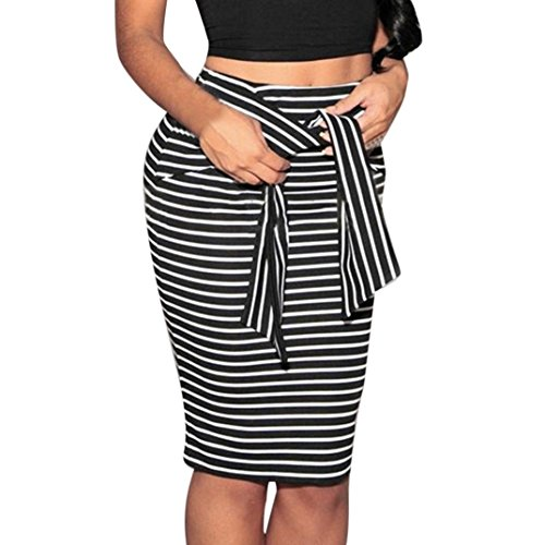 Clearance Hot Sale!Women Skirt Daoroka Sexy Striped Bow Tied High Waist Skinny Stretchy Slim Knee-Length Pencil Work Office Casual Skirt Valentines Day Gift For Girlfriend Lovers
