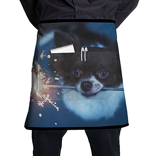 Jaylon Waist Short Apron Half Chef Apron Cute Dog Play Fireworks Cooking Apron With Pockets Home Kitchen Cooking Pinafore