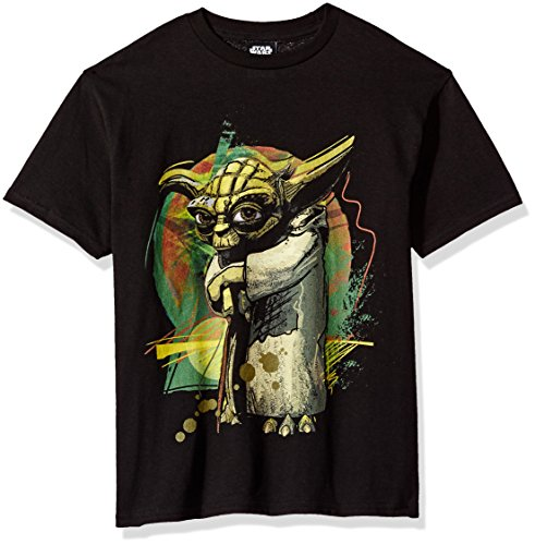 Star Wars Big Boys' Yodart Pop Art Graphic Tee, Black, YXS